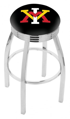 Virginia Military Institute Keydets Chrome Swivel Barstool with Ribbed Accent Ring