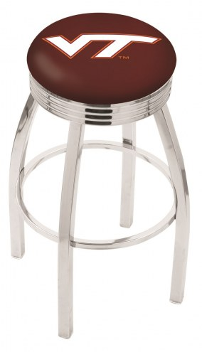 Virginia Tech Hokies Chrome Swivel Barstool with Ribbed Accent Ring
