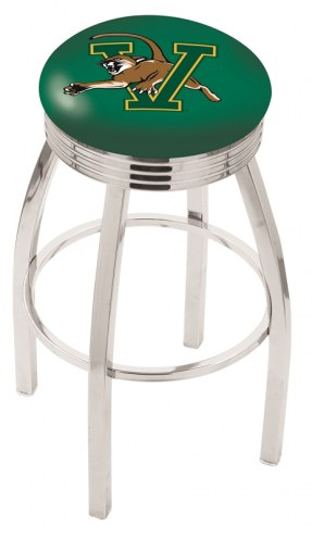 Vermont Catamounts Chrome Swivel Barstool with Ribbed Accent Ring