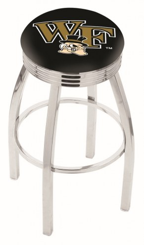 Wake Forest Demon Deacons Chrome Swivel Barstool with Ribbed Accent Ring