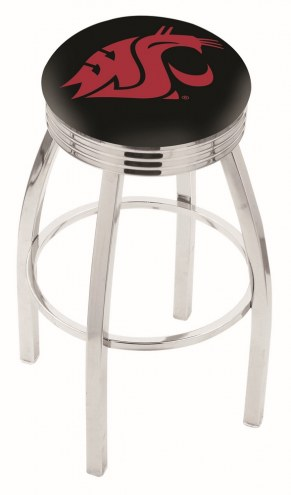 Washington State Cougars Chrome Swivel Barstool with Ribbed Accent Ring
