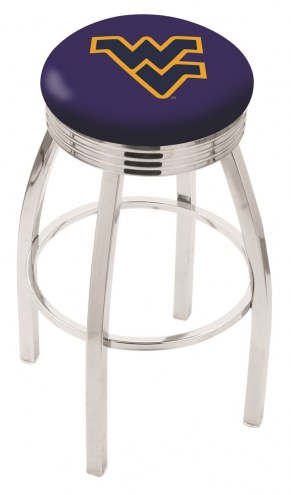 West Virginia Mountaineers Chrome Swivel Barstool with Ribbed Accent Ring