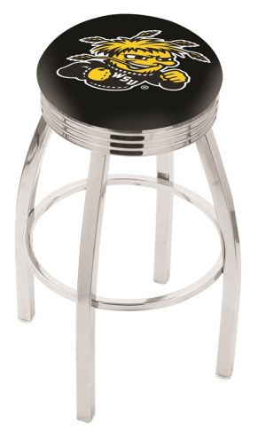 Wichita State Shockers Chrome Swivel Barstool with Ribbed Accent Ring