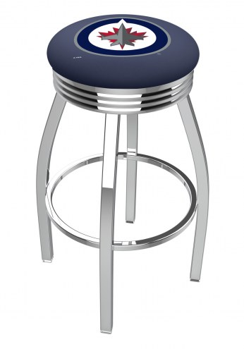 Winnipeg Jets Chrome Swivel Barstool with Ribbed Accent Ring