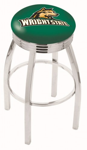 Wright State Raiders Chrome Swivel Barstool with Ribbed Accent Ring
