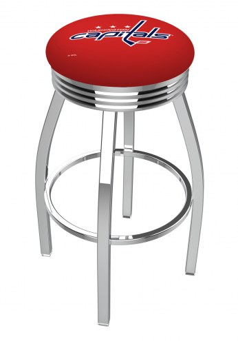 Washington Capitals Chrome Swivel Barstool with Ribbed Accent Ring