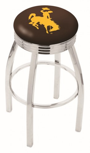 Wyoming Cowboys Chrome Swivel Barstool with Ribbed Accent Ring