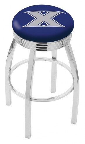 Xavier Musketeers Chrome Swivel Barstool with Ribbed Accent Ring