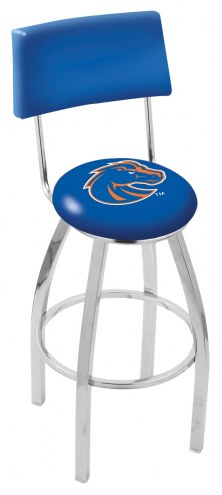 Boise State Broncos Chrome Swivel Bar Stool with Back