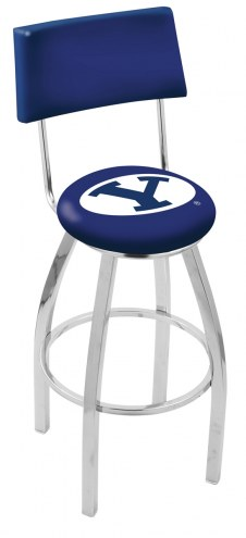 BYU Cougars Chrome Swivel Bar Stool with Back