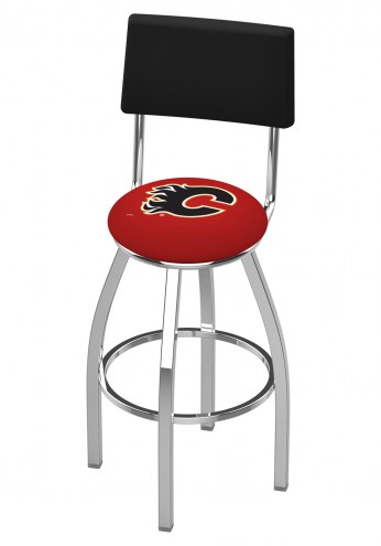 Calgary Flames Chrome Swivel Bar Stool with Back