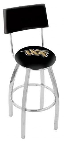Central Florida Knights Chrome Swivel Bar Stool with Back
