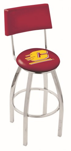 Central Michigan Chippewas Chrome Swivel Bar Stool with Back