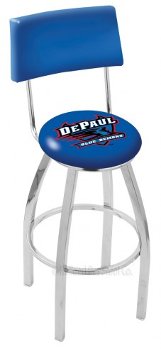 DePaul Blue Demons Chrome Swivel Bar Stool with Back