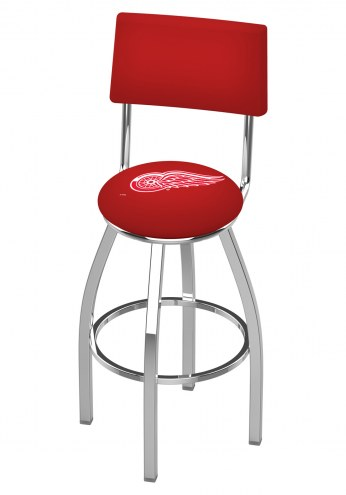 Detroit Red Wings Chrome Swivel Bar Stool with Back