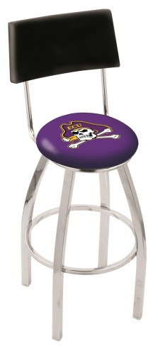 East Carolina Pirates Chrome Swivel Bar Stool with Back