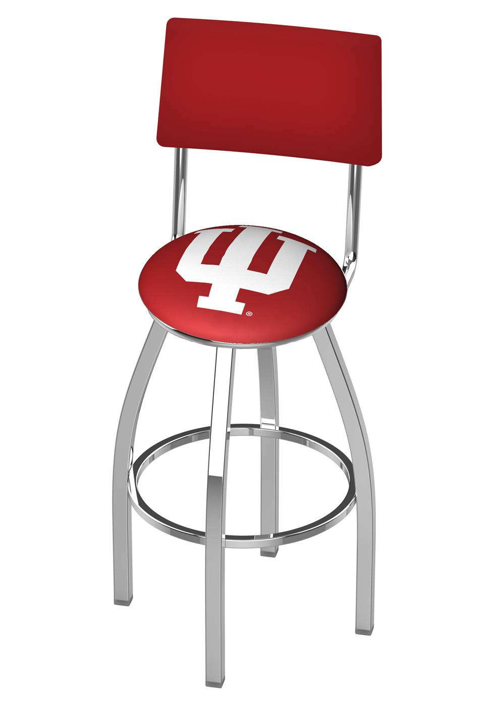 Indiana Hoosiers Chrome Swivel Bar Stool With Back