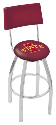 Iowa State Cyclones Chrome Swivel Bar Stool with Back
