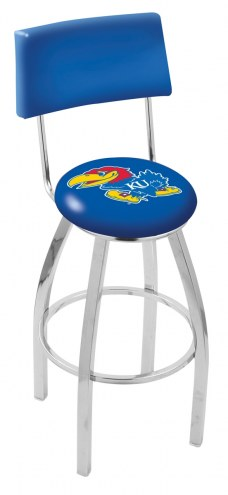 Kansas Jayhawks Chrome Swivel Bar Stool with Back