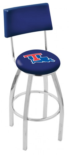 Louisiana Tech Bulldogs Chrome Swivel Bar Stool with Back