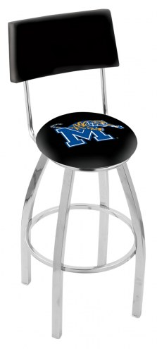 Memphis Tigers Chrome Swivel Bar Stool with Back