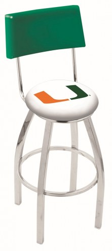 Miami Hurricanes Chrome Swivel Bar Stool with Back