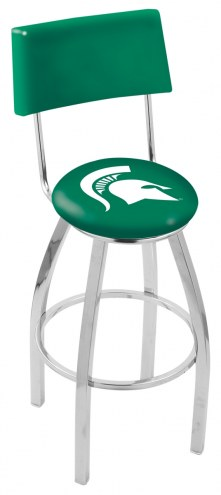 Michigan State Spartans Chrome Swivel Bar Stool with Back