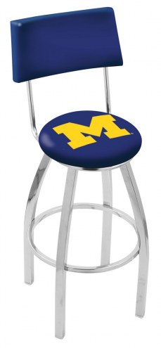 Michigan Wolverines Chrome Swivel Bar Stool with Back