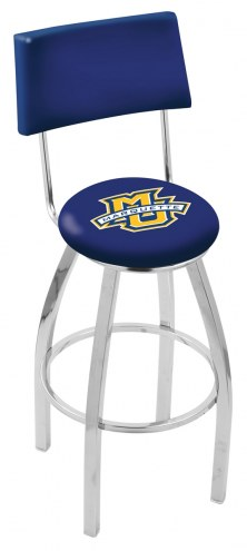 Marquette Golden Eagles Chrome Swivel Bar Stool with Back