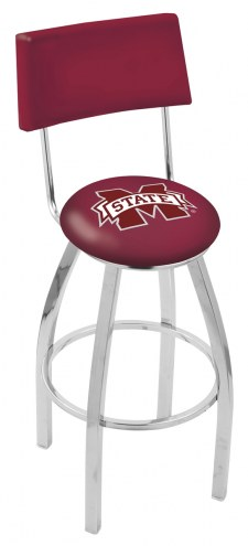 Mississippi State Bulldogs Chrome Swivel Bar Stool with Back