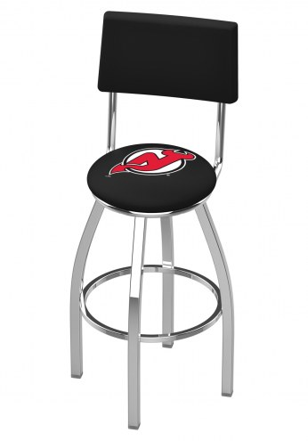 New Jersey Devils Chrome Swivel Bar Stool with Back