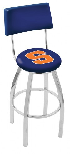 Syracuse Orange Chrome Swivel Bar Stool with Back