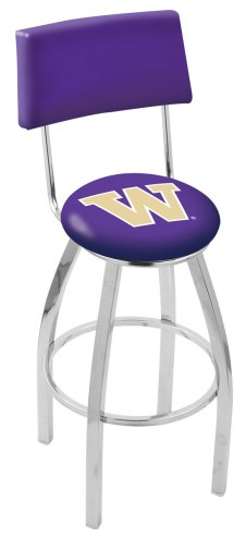 Washington Huskies Chrome Swivel Bar Stool with Back