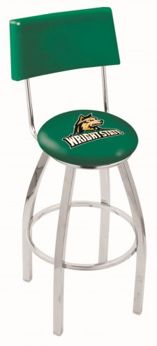 Wright State Raiders Chrome Swivel Bar Stool with Back