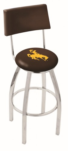Wyoming Cowboys Chrome Swivel Bar Stool with Back