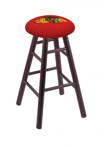 Chicago Blackhawks Oak Wood Bar Stool