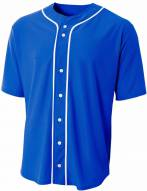 A4 Short Sleeve Full Button Youth Custom Baseball Jersey