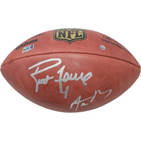 Aaron Rodgers/Brett Favre Dual Signed Wilson Official NFL Football