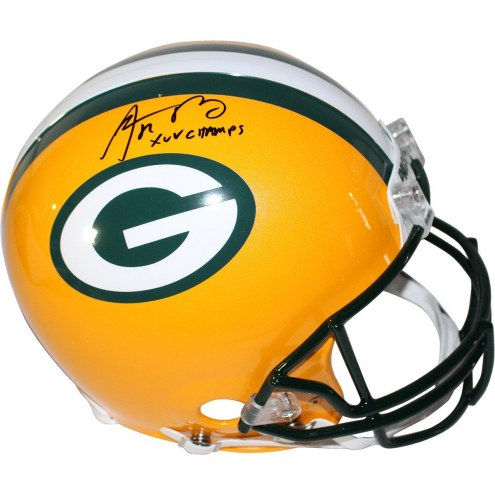 """Aaron Rodgers Green Bay Packers Full Size Authentic Helmet w/ """" XLV Champ"""" Insc"""