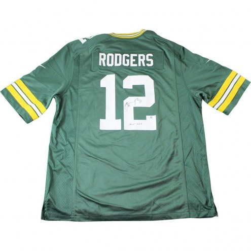 """Aaron Rodgers Signed Green Bay Packers Green Replica Jersey w/ """" XLV MVP"""" Insc"""