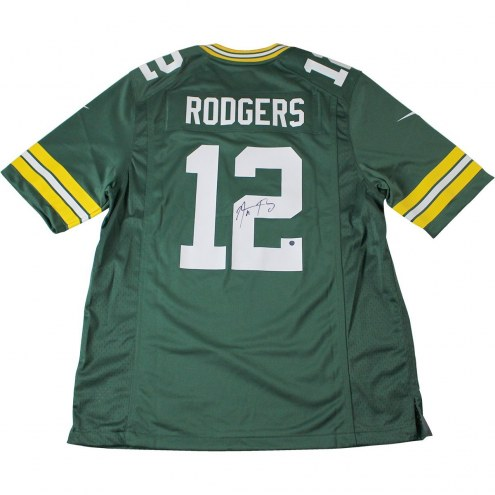 Aaron Rodgers Signed Green Bay Packers Green Replica Jersey