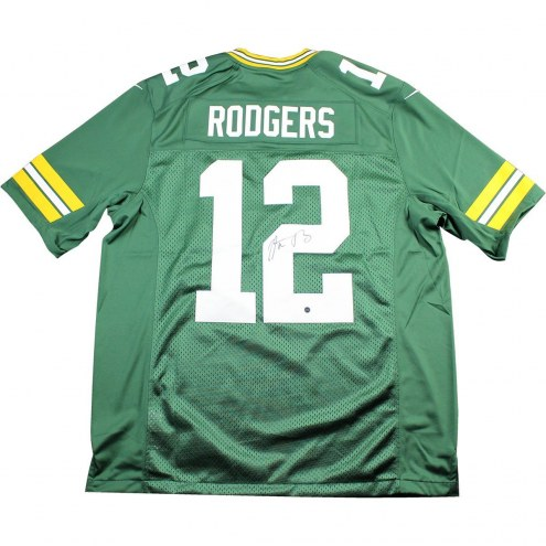Aaron Rodgers Signed Green Bay Packers Green Twill Limited Nike Jersey