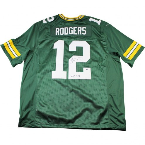 """Aaron Rodgers Signed Green Bay Packers Twill Green Jersey w/ """" XLV MVP"""" Insc"""