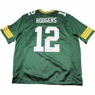 "Aaron Rodgers Signed Green Bay Packers Twill Green Jersey w/ "" XLV MVP"" Insc"