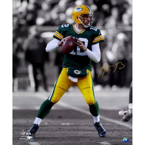 Aaron Rodgers Signed 'Spotlight Pass' 20x24 Photo (Signed in Gold)