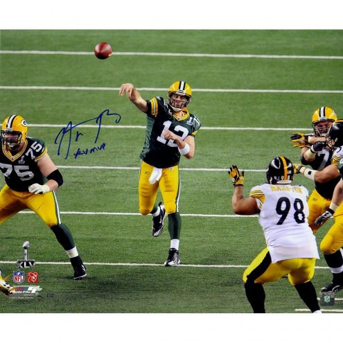 """Aaron Rodgers Signed 'Super Bowl 45 Passing' 20x24 Photo w/ """"XLV MVP"""" Insc"""