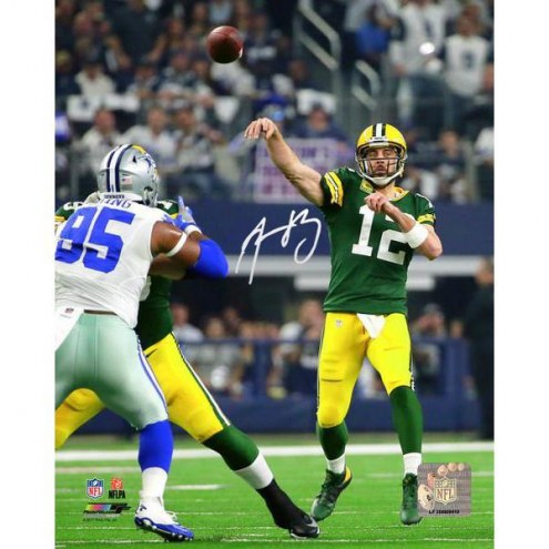 Aaron Rodgers Signed 'Throw Vs. Dallas' 8x10 Photo