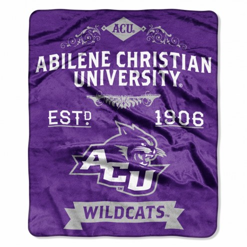Abilene Christian Wildcats Label Raschel Throw Blanket