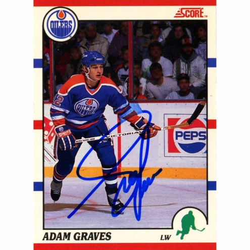 Adam Graves Signed 1990-91 Score Rookie Card #163