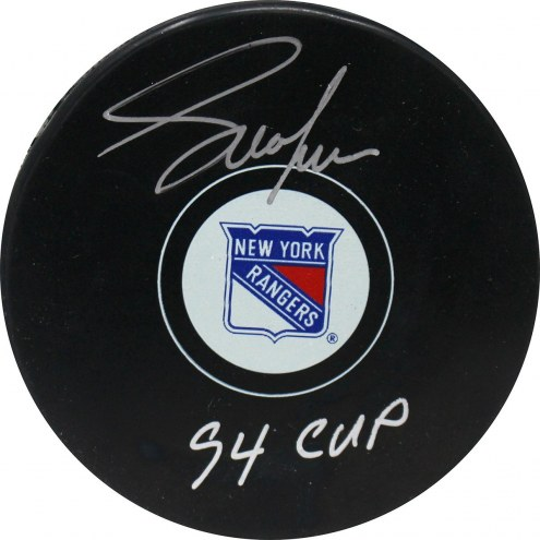 "Adam Graves Signed New York Rangers Puck w/ ""94 Cup"" Insc"